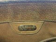 Vintage FENDI tanned brown suede bag with twist rope stitch design and long straps with unique pasta motifs. Rare masterpiece bag