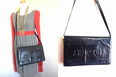Vintage FENDI black leather shoulder bag, large clutch purse with embossed art, Ancient Greece, Mermaid. One-of-a-kind, Great masterpiece.