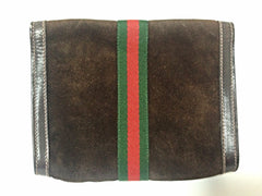 80's Vintage Gucci brown suede leather classic makeup, cosmetic, toiletry pouch, clutch purse with green and red webbing. Gucci Parfums
