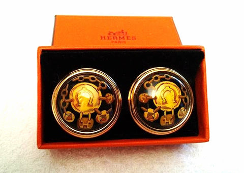 MINT. Vintage Hermes round shape cloisonne enamel golden earrings with black, yellow and gold. Great gift idea