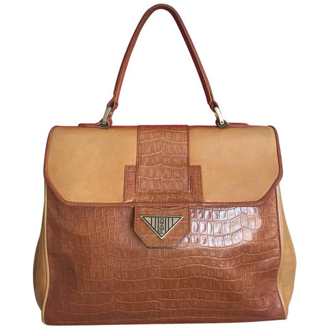 Vintage FENDI genuine brown leather kelly style handbag with croc-embossed leather and square logo plate. Rare masterpiece.