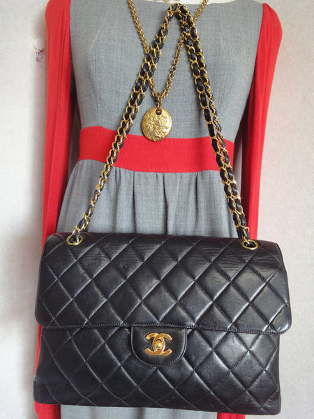 cf2a27207b1b ... Vintage CHANEL black lambskin 2.55 classic jumbo, large shoulder bag  with double side flap and ...