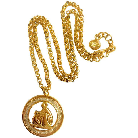 MINT. Vintage LANVIN golden chain necklace with large round logo pendant top with crystal stones. Perfect vintage jewelry. Germany made.