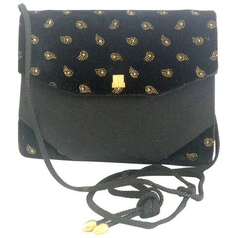 Vintage LANVIN black velvet and fabric clutch shoulder bag with golden allover paisley prints.