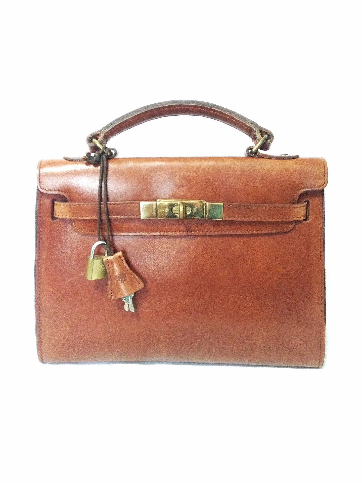 Vintage mulberry smooth brown leather kelly bag with keys for What can you do with old keys