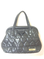Vintage MOSCHINO black heart shape quilted lambskin mini handbag, tote purse. Too cute to carry.