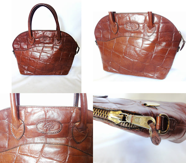 b0c416bf2005 Masterpiece back in Vintage Mulberry croc embossed brown leather tote bag  in bolide bag style.