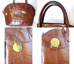 Vintage Mulberry croc embossed brown leather tote bag in bolide bag style. Masterpiece back in the era. Roger Saul era