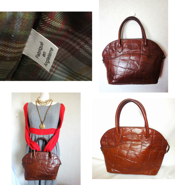 090ef99cd2f5 Masterpiece back in Vintage Mulberry croc embossed brown leather tote bag  in bolide bag style. Masterpiece back in