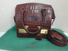 MINT. Vintage Mulberry croc embossed leather birkin doctor's bag style shoulder bag, handbag with jewelry case. Special custom order purse.