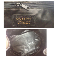 Vintage Nina Ricci genuine black leather classic hobo bucket shoulder bag with embossed logo. Maroquineri collection. Made in Italy