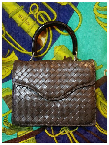 SOLD OUT: MINT. Vintage Bottega Veneta dark brown intrecciato woven leather handbag. Best classic and elegant purse.