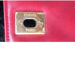 Vintage CHANEL lipstick red lambskin pouch with golden CC closure in chevron, V stitch. Can be used as waist hip bag and party clutch too