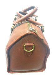 Vintage Ralph Lauren brown leather speedy style bag, mini duffle purse. Classic unisex bag for daily use.