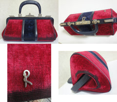 70's, 80's vintage Roberta di Camerino red and navy velvet doctor handbag with gold charm and leather trimming. Treasury bag for collection