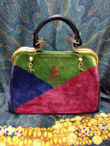 SOLD OUT: MINT. Vintage Roberta di Camerino wine red, navy, and green triangle velvet handbag, rare purse with a large logo and dangling R charms.