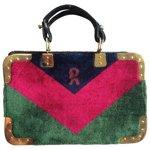Vintage Roberta di Camerino red, green, and navy chevron velvet square doctor bag with golden hardware frames. Rare masterpiece
