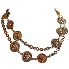 Vintage Sonia Rykiel rare golden coin motif flower charm with crystal stones long statement necklace. Gorgeous masterpiece jewelry.