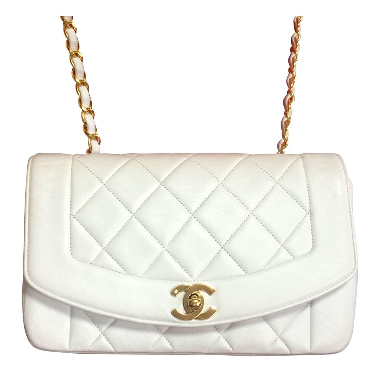 cdc3391d0f84 Vintage CHANEL white lambskin flap chain shoulder bag, classic 2.55 purse  with gold tone CC