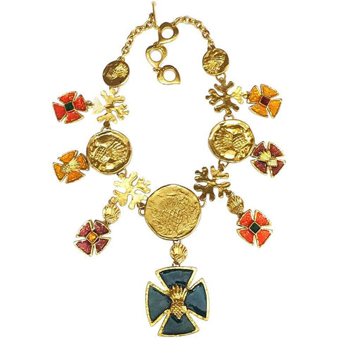 MINT. Vintage Yves Saint Laurent statement necklace with blue, wine, orange, yellow, and green colorful enamel cross and coin motif charms.
