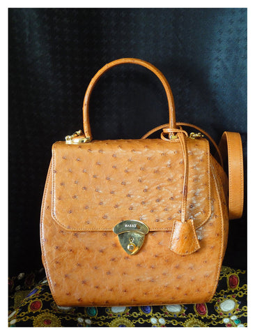 SPECIAL. MINT. Vintage BALLY genuine ostrich leather orange brown handbag with shoulder strap and mirror.