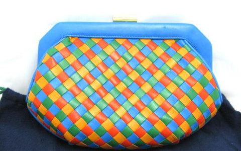 Vintage Bottega Veneta intrecciato woven lamb leather pouch clutch bag in orange, blue, green, and yellow.