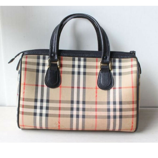 f3e28c61781 Classic Vintage Burberry classic beige nova check speedy bag style handbag  with black leather trimmings.