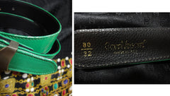 Vintage Gianni Versace green leather rock star belt with silver hardware.  Size for 25.5 inch, 65 cm. Get the authentic Lady Gaga look.