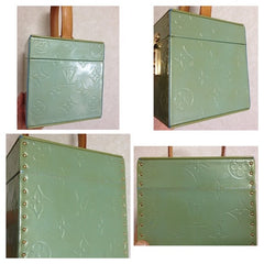 90s Vintage Louis Vuitton light green verni monogram cosmetic, party vanity purse. Very chic and cute.