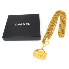 Vintage CHANEL golden double chain necklace with classic 2.55 bag charm, pendant top. Bag necklace