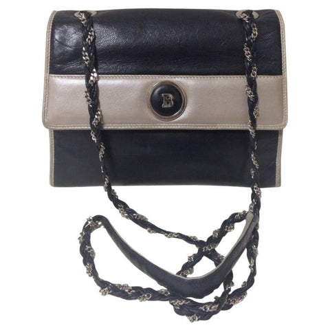 Vintage BALLY black and pearl white color lamb leather chain shoulder bag with golden B motif.