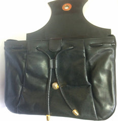 Vintage Bally black leather retro pop design bag, business purse with gold tone drawstrings and unique flap cut design.  Unisex use