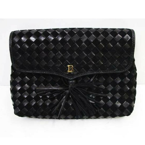 Vintage Bally black woven intrecciato design leather clutch purse, pouch with golden B logo motif and tassel at front.