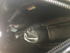 Vintage BALLY genuine black suede leather quilted shoulder camera bag with gold tone chain strap.