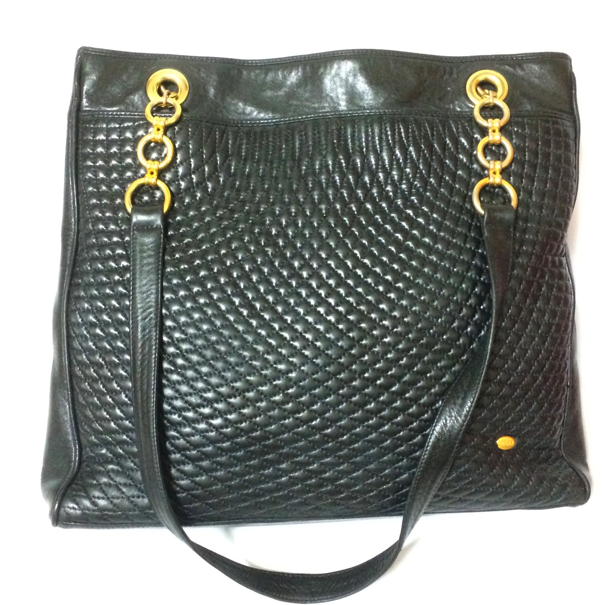 b99491e01fba Vintage Bally classic black quilted leather large shopper tote bag with  golden hoop chains and round