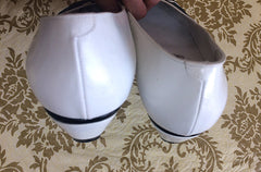 Vintage BALLY white and black leather flat shoes, pumps with geometric design.  US6.5