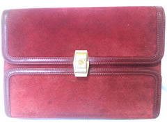 Vintage BALLY genuine wine suede leather clutch bag, mini purse with gold tone logo motif.