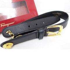 MINT. Vintage Salvatore Ferragamo black leather and chain belt with golden round charms. Hot vintage Ferragamo masterpiece. Sexy. 65
