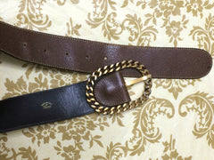 Vintage Gucci dark brown leather belt with detachable golden chain buckle. Classic masterpiece. 25, 26, 27, 28, 29, 30 inch