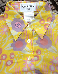 Vintage CHANEL yellow, pink, orange, etc multicolor floral print cotton blouse, shirt. Can be coordinated with dress. Size 34