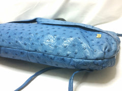 Vintage BALLY genuine blue ostrich leather shoulder bag with gathered knot, bow design and black motif. Made in W. Germany.