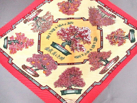 Vintage HERMES carre pleated silk scarf, harness, BONSAI print in pink, cream yellow, and beige. Rare Bonsai