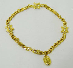 Vintage Celine gold tone chain bracelet with blaison macadam charms with crystal stones