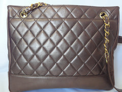 Vintage CHANEL gunmetal, bronze lambskin tote bag with gold tone chains and CC.