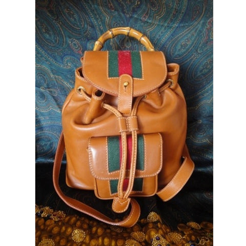 SOLD OUT: Vintage Gucci brown leather sherry line backpack. Sophisticated casual backpack
