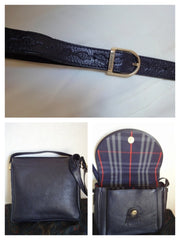 SOLD OUT: Vintage Burberry navy leather shoulder bag