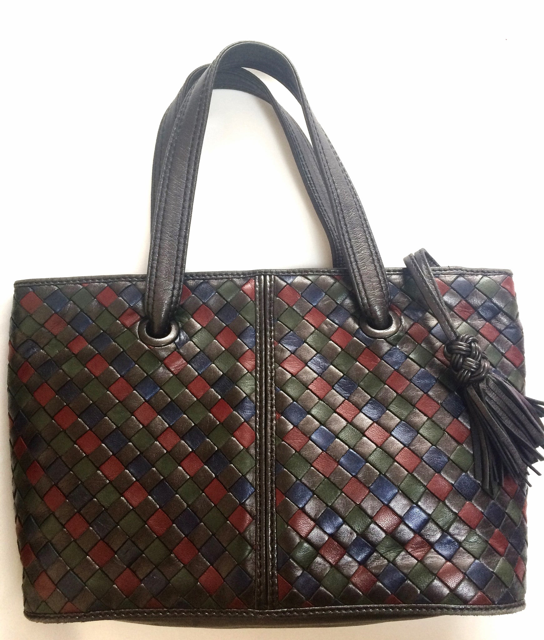 Vintage Bottega Veneta intrecciato woven leather tote bag in black, wine, brown, navy, and dark green lambskin intrecciato. Multicolor bag.
