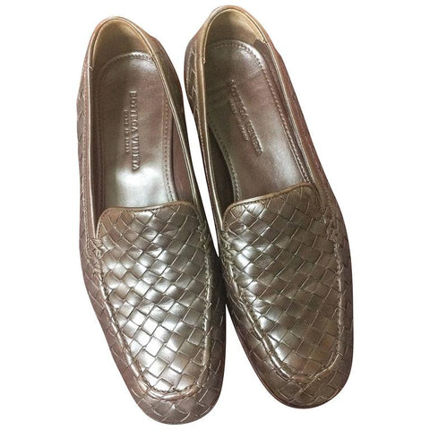 MINT. Vintage Bottega Veneta classic dark brown intrecciato leather shoes. EU 38, US7.5-8