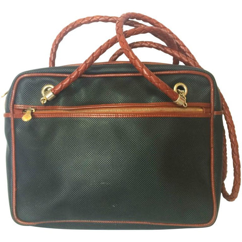 Vintage Bottega Veneta classic black shoulder bag with long brown leather intrecciato straps. Perfect purse for daily use.