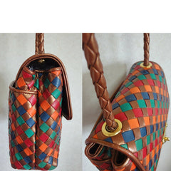 Vintage Bottega Veneta intrecciato shoulder bag, woven leather purse in multicolor of bronze, red, orange, green, and blue.